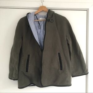 Zara cloak, size small.  Gray with faux leather.